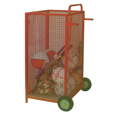 Upright mobile sports trolley