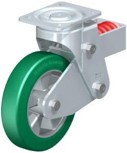 Spring loaded castor wheel example