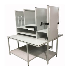 Light Grey Packing Bench With Dividers