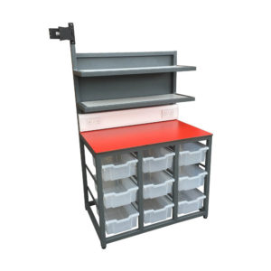 Compact Packing Bench With Plug Socket Points and Plastic Drawer Storage