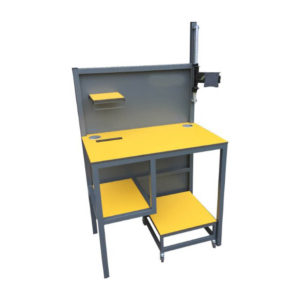 Yellow and Grey Packing Bench With Small Shelf