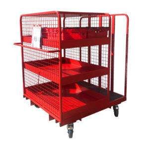 Mesh Tray Trolley With Packaging Storage