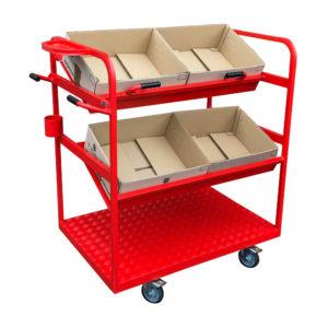 Red Tilt Shelf Trolley