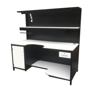 Black And White Curve Packing Bench With Storage Cupboard