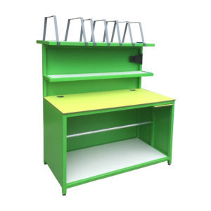 Green Packing Bench With Dividers