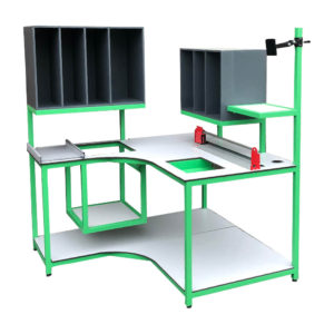 Curve Packing Bench With Cubby Shelves and Built In Packaging Cutter