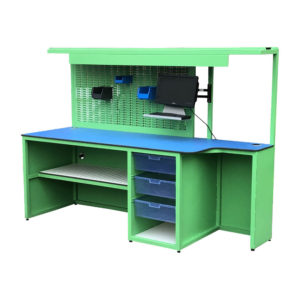 Work Bench With Drawers And Peg Board Back