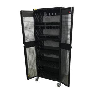 Black Powder Coat Locking Cage - open