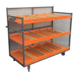 Mesh Stock Trolley With Dividers
