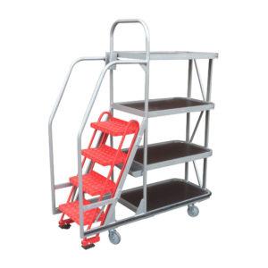Four Shelf Step Trolley