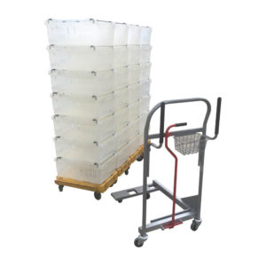 Dolly Pusher Trolley and Stacked Totes
