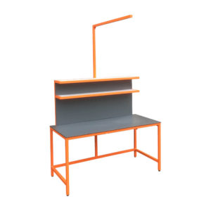 Grey and Orange Workbench With Post