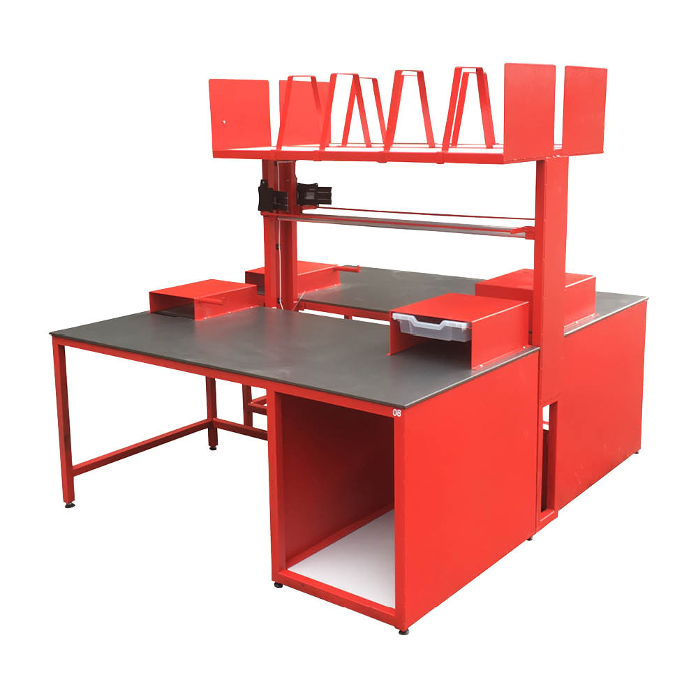 Red Packing Bench With Countertop Storage