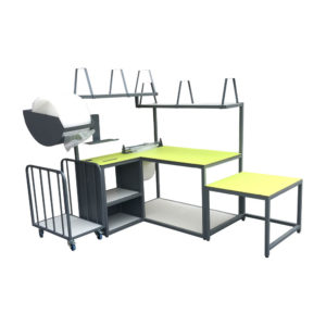 Full Green Packing Bench Set Up With Trolley And Roll Dispenser