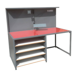 Steel Grey And Red Work Bench With Shelves