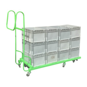 Green Dolly Pusher With Boxes