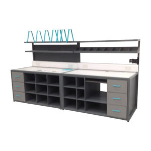 Modern Grey Packing Station With Pigeonholes and Drawers