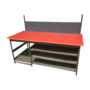 Red Worktop Packing Bench With Storage Shelves