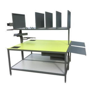 Green Packing Bench With Dividers And Side Shelves