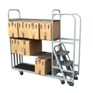 Step Trolley With Cardboard Boxes