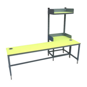 Long Packing Bench With Upper Shelf
