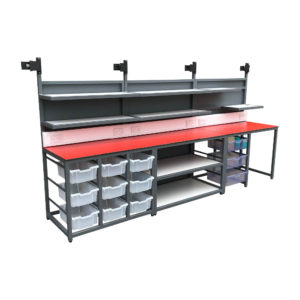 Wide Packing Bench With Multi Drawer Storage