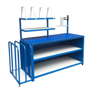 Packing Bench With Storage And Side Rack And Upper Dividers