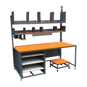 Orange Packing Bench With Castor Wheels