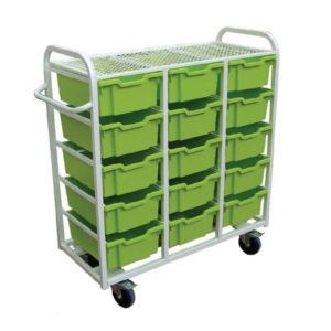 15 Box Trolley With Flat Shelf Top