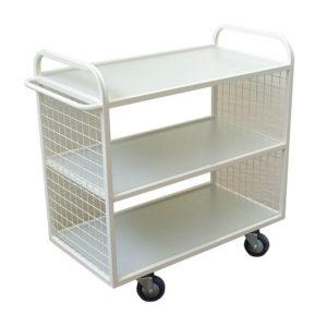 Steel Flat Shelf Wide Mesh Trolley