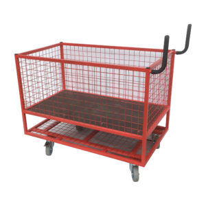Mesh Container Trolley With Lower Shelf