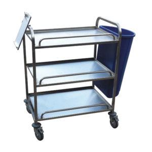 3 Tier Flat Shelf Stainless Trolley With Bin